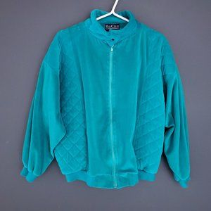VINTAGE 90S Quilted Jacket Coat Fall Zip Up Teal